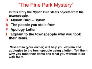 """The Pine Park Mystery"""