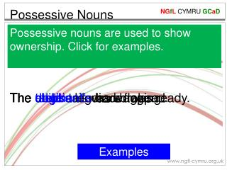 Possessive nouns are used to show ownership. Click for examples.