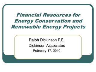 Financial Resources for Energy Conservation and Renewable Energy Projects