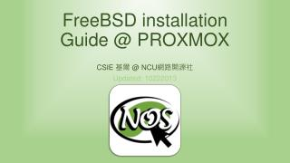 FreeBSD  installation Guide @ PROXMOX