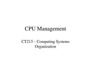 CPU Management