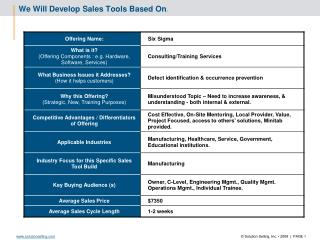We Will Develop Sales Tools Based On :