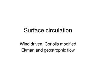 Surface circulation