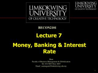 Money, Banking & Interest Rate