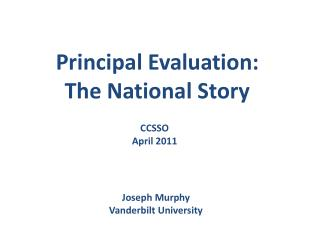 Principal Evaluation:  The National Story