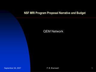 NSF MRI Program Proposal Narrative and Budget