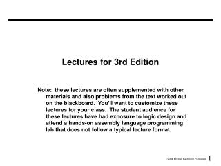 Lectures for 3rd Edition