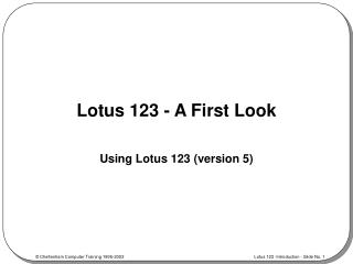 Lotus 123 - A First Look