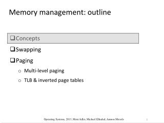 Memory management: outline