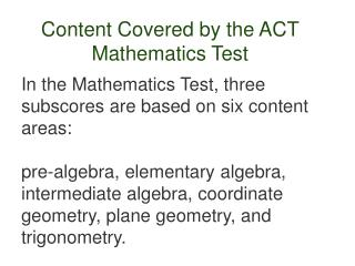 Content Covered by the ACT Mathematics Test