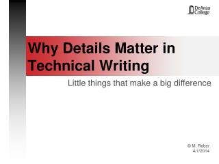 Why Details Matter in Technical Writing