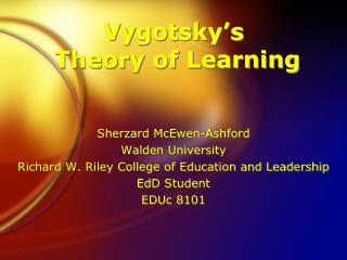 Vygotsky's  Theory of Learning
