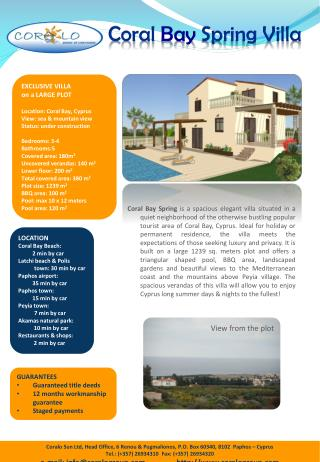 EXCLUSIVE  VILLA  on a LARGE PLOT Location: Coral Bay, Cyprus View : sea  & mountain view