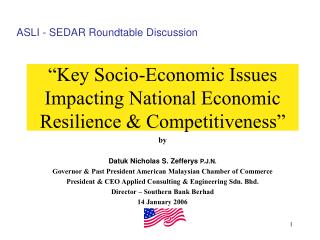 """Key Socio-Economic Issues Impacting National Economic Resilience & Competitiveness"""