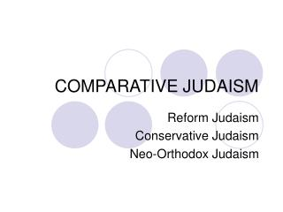 COMPARATIVE JUDAISM