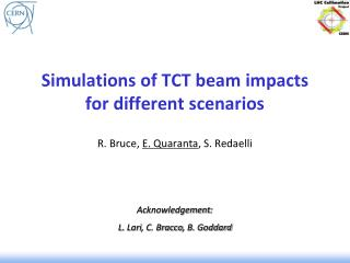 Simulations of TCT beam impacts  for  different scenarios