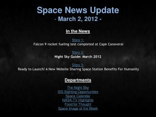 Space News Update  March 2, 2012 -