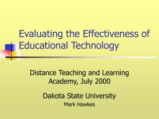 Evaluating the Effectiveness of Educational Technology