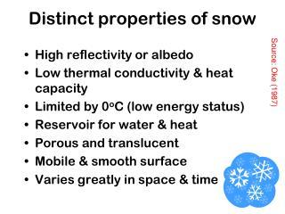 Distinct properties of snow