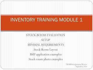 INVENTORY TRAINING MODULE 1
