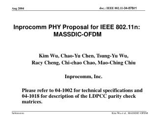 Inprocomm PHY Proposal for IEEE 802.11n:  MASSDIC-OFDM