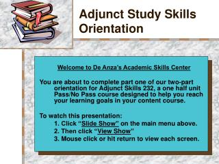 Adjunct Study Skills Orientation