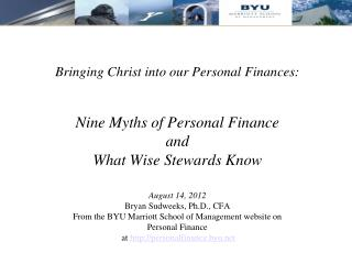 Bringing Christ into our Personal Finances: Nine Myths of Personal Finance  and