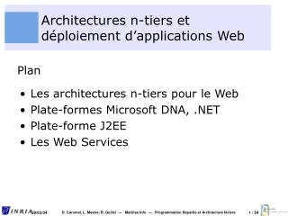 Architectures n-tiers et déploiement d'applications Web