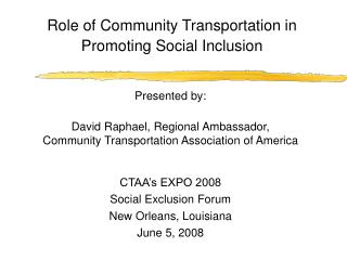 Role of Community Transportation in Promoting Social Inclusion