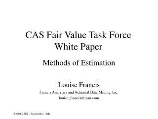 CAS Fair Value Task Force White Paper