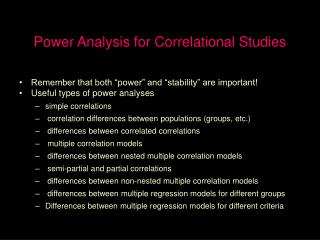 Power Analysis for Correlational Studies