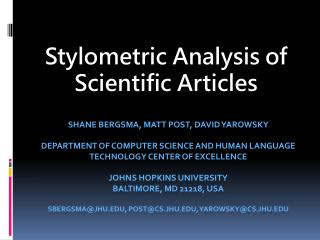 Stylometric Analysis of Scientific Articles