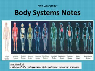 Title your page: Body Systems Notes