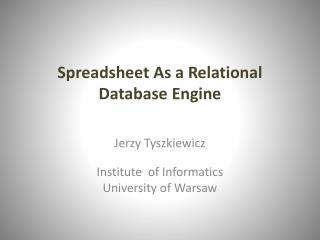 Spreadsheet As a Relational Database Engine