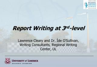 Report Writing at 3 rd -level