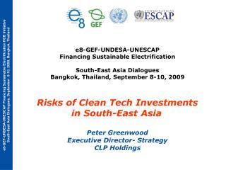 e8-GEF-UNDESA-UNESCAP  Financing Sustainable Electrification  South-East Asia Dialogues