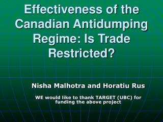 Effectiveness of the Canadian Antidumping Regime: Is Trade Restricted?
