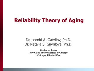 Reliability Theory of Aging