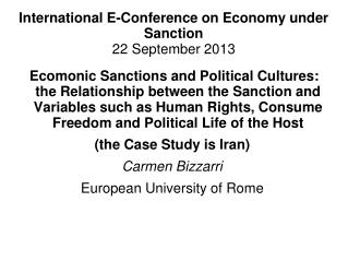 International E-Conference on Economy under Sanction 22 September 2013