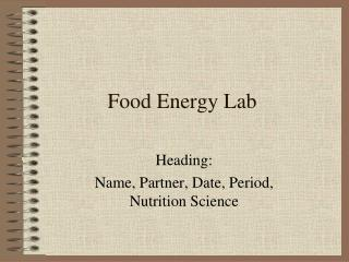 Food Energy Lab