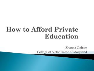 How to Afford Private Education