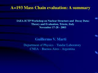 A=193 Mass Chain evaluation: A summary