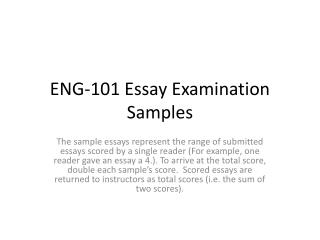 ENG-101 Essay Examination Samples