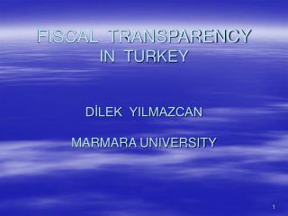 FISCAL  TRANSPARENCY IN  TURKEY D?LEK  YILMAZCAN MARMARA UNIVERSITY