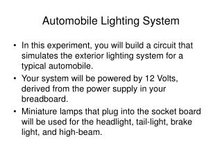 Automobile Lighting System