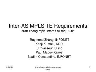 Inter-AS MPLS TE Requirements draft-zhang-mpls-interas-te-req-00.txt