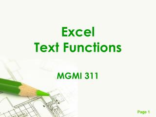Excel Text Functions MGMI 311