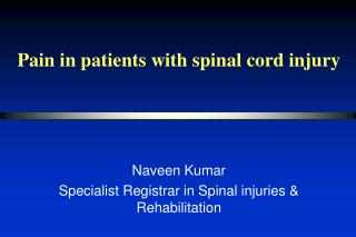 Pain in patients with spinal cord injury
