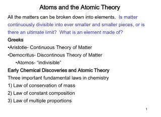 Atoms and the Atomic Theory