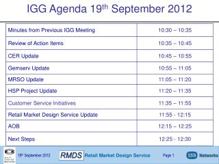 IGG Agenda 19 th  September 2012